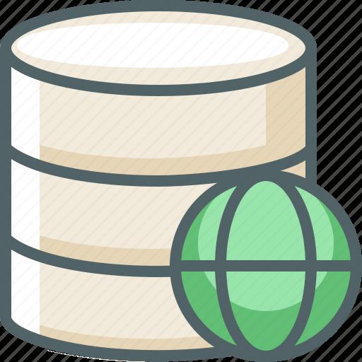 data, database, global, international, network, storage, world icon