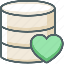 bookmark, data, database, favorite, heart, server, storage icon