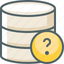 data, database, help, question, server, storage, support icon