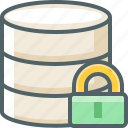 data, database, lock, protection, secure, server, storage icon