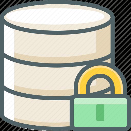 data, database, lock, protection, secure, server, storage icon