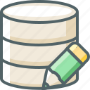 data, database, edit, pencil, server, storage, write icon