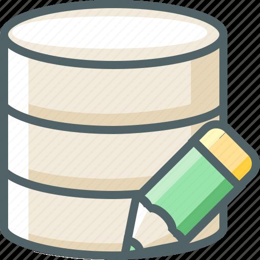 data, database, edit, pencil, server, storage, write icon