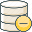 data, database, delete, minus, remove, server, storage icon