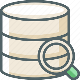 data, database, glass, magnifier, search, server, storage icon