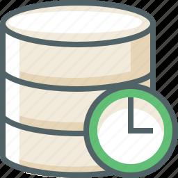clock, data, database, server, storage, time, timer icon