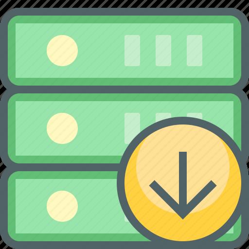 arrow, database, direction, down, download, server, storage icon