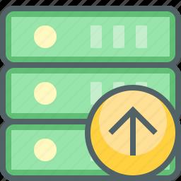 arrow, database, direction, server, storage, up, upload icon