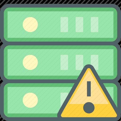 alert, caution, database, network, server, storage, warning icon