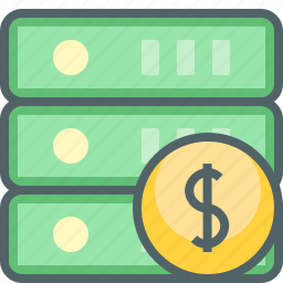 database, dollar, finance, money, network, server, storage icon