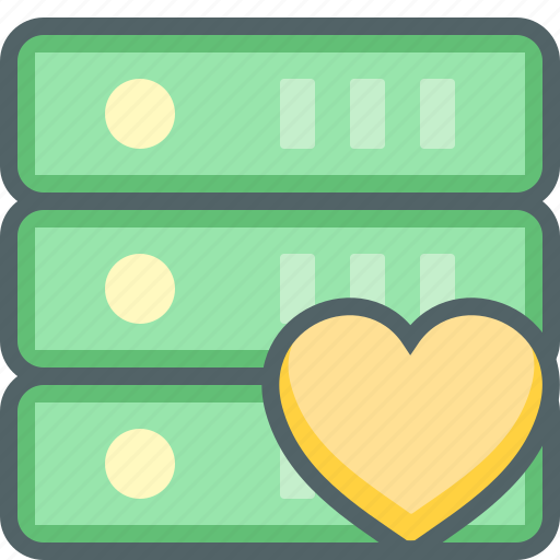bookmark, database, favorite, heart, network, server, storage icon