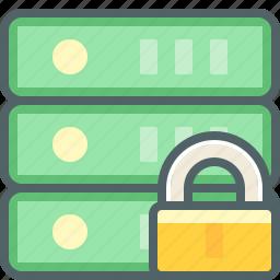 database, lock, protection, safe, secure, server, storage icon