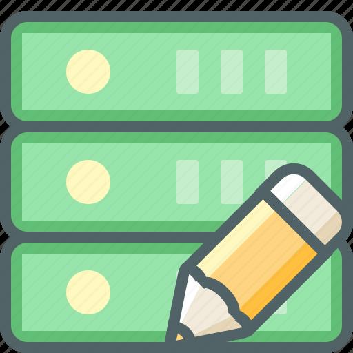 database, edit, network, pencil, server, storage, write icon