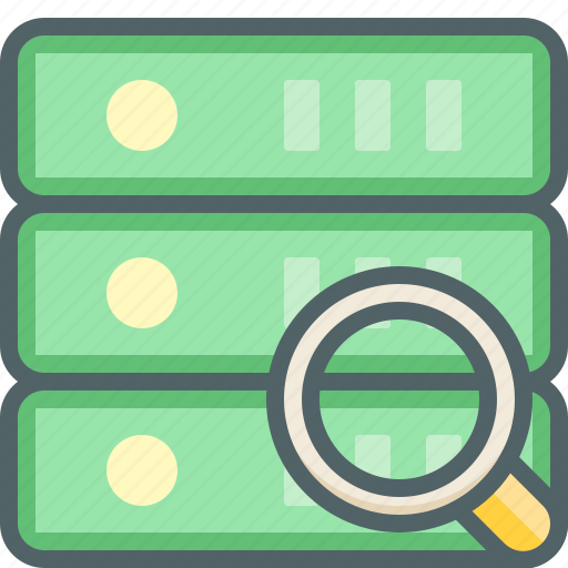 database, find, glass, magnifier, search, server, storage icon