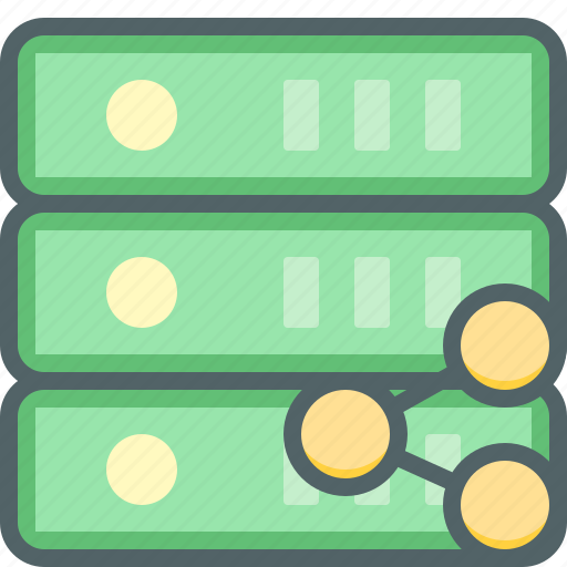 communication, database, network, server, share, social, storage icon