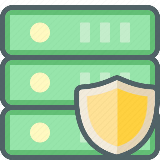 database, network, protection, security, server, shield, storage icon