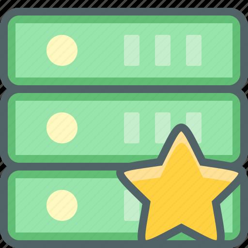 award, bookmark, database, network, server, star, storage icon