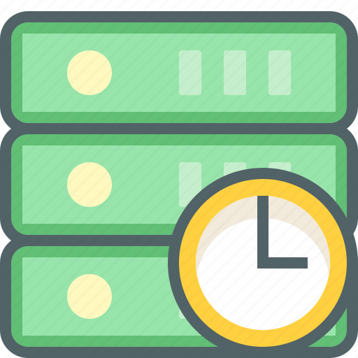 clock, database, network, server, storage, time, timer icon