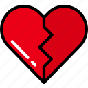 broken, heart, love, ui development, unfavorite, unlike icon