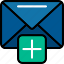 add, email, letter, mail, new, ui development icon