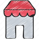 building, ecommerce, market, shop, ui development icon