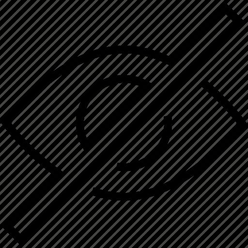 Detail, eye, no, view icon