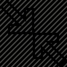 arrows, diagonal, drag, reduce icon
