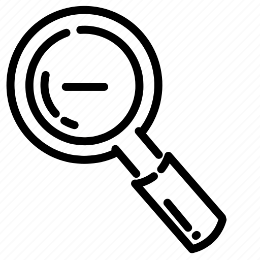 find, glass, lens, magnifying, out, search, zoom icon