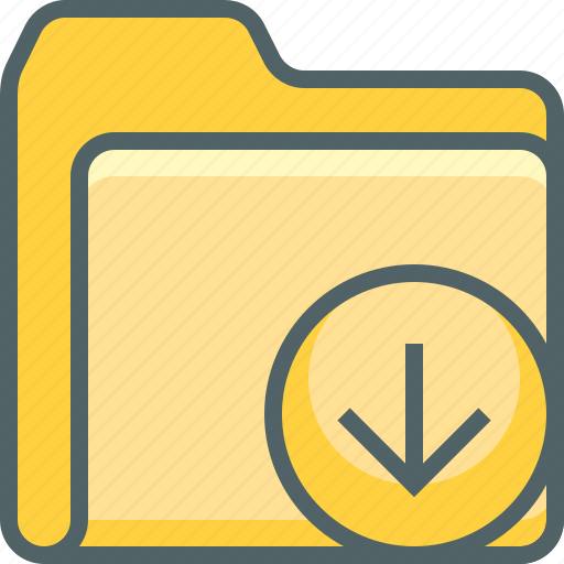 arrow, document, down, download, file, folder, navigation icon