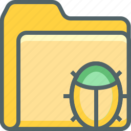 bug, document, file, folder, insect, report, virus icon