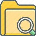 document, file, find, folder, glass, magnifier, search icon