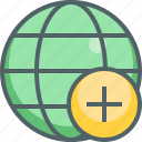 add, create, global, international, network, new, plus icon