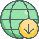 arrow, down, downoad, global, international, navigation, network icon