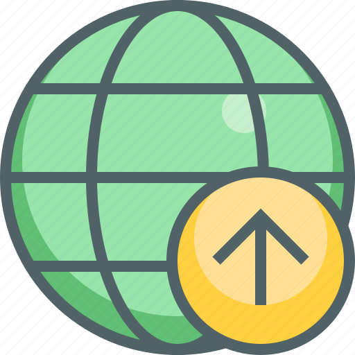 arrow, global, international, navigation, network, up, upload icon