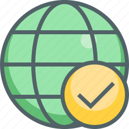 accept, check, global, international, mark, network, tick icon