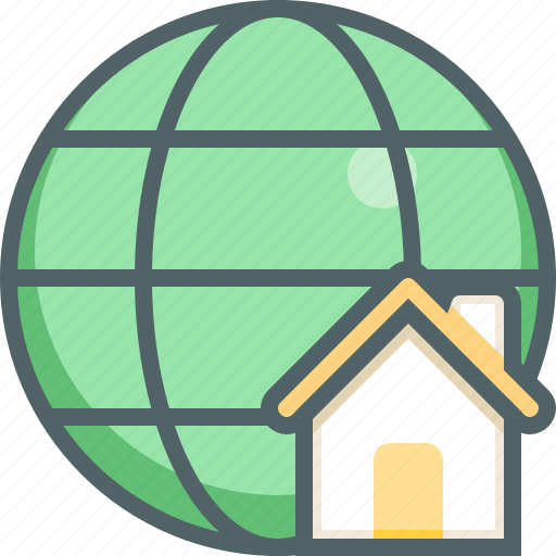 building, estate, global, home, house, international, network icon