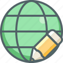 global, pencil, design, edit, international, network, write
