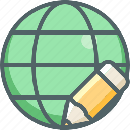 design, edit, global, international, network, pencil, write icon