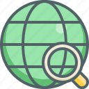 find, glass, global, international, magnifier, network, search icon