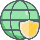 global, international, network, protection, safe, security, shield icon