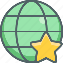 bookmark, favorite, global, international, like, network, star icon