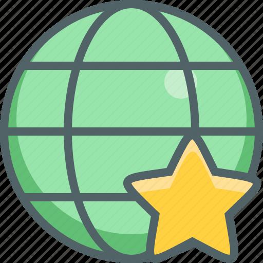 bookmark, favorite, global, international, like, network, star icon