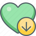 arrow, direction, down, download, favorite, heart, navigation icon