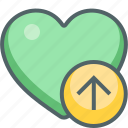 arrow, direction, favorite, heart, navigation, up, upload icon