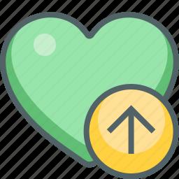 arrow, direction, favorite, heart, navigation, up, upload icon