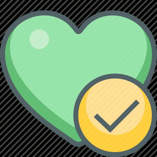 accept, check, favorite, heart, love, mark, oke icon