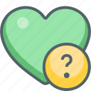 favorite, heart, help, love, question, service, support icon