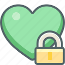 favorite, heart, lock, protection, safe, secure, security icon