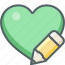 design, favorite, graphic, heart, pen, pencil, write icon