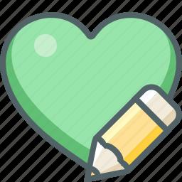 design, favorite, graphic, heart, pen, pencil, write icon